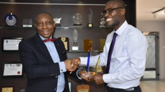 Nigerian Actuarial Society presenting an award to AIICO in recognition and appreciation of AIICO's immense support to the organization