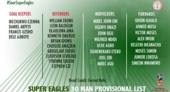 NFF Releases 30-Man Provisional List For 2018 World Cup