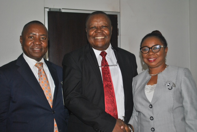 L-R,  General Secretary, Association of Stockbroking Houses of Nigeria, Mr Sam Onukwue, Chairman, Chief Onyewechukwu Ezeagu and Acting, Director General, Securities and Exchange Commission (SEC) Ms. Mary Uduk during a Meeting between SEC and Association of Stockbroking Houses of Nigeria (ASHON) in Abuja yesterday