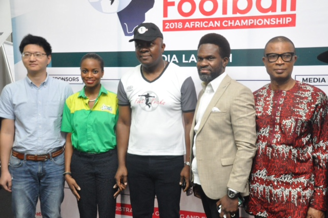 L. R: Regional Sales Manager Africa, GAC Group Motor Co. Limited, Mr. Scofield Wu; Brand Manager, Coca-Cola Nigeria Limited.  Olajumoke Oyewole-Lawuyi; Chairman Feet 'N' Tricks International Limited, Valentine Ozigbo; Divisional Head Corporate Communications, Heritage Bank Plc, Fela Ibidapo and Distributors of Scavi & Ray, Iheanyi Nzekwe; at the Freestyle Football 2018 African Championship's media launch press conference In Lagos, yesterday.