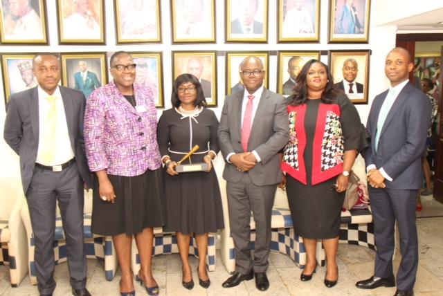 Chinedu Ekeocha (PenOp Treasurer & MD – Diamond PFC), Ms. Tinuade Awe (NSE, Executive Director – Regulations), Aderonke Adedeji (PenOp President & MD – Leadway Pensure Ltd), Akeeb Akinola (PenOp Vice-President & MD – Shell CPFA), Susan Oranye (Executive Secretary – PenOp) and Dapo Akisanya (Head, PenOp Technical Committee & MD – AXAMansard Pensions Ltd).