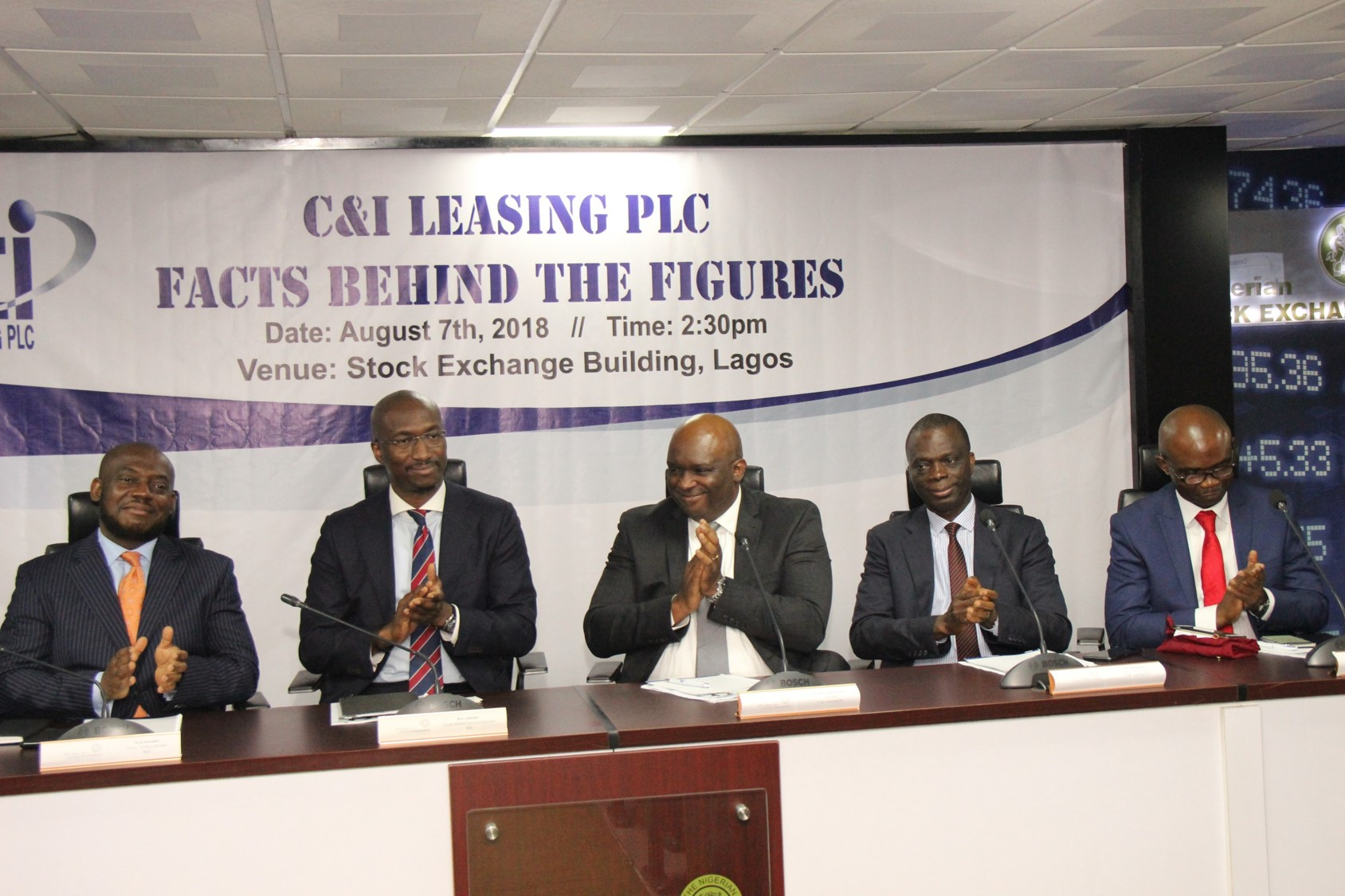L – R shows Tony Ibeziako, Ag. Head, Listing Business Division, The Nigerian Stock Exchange (NSE); Bola Adeeko, Head, Shared Services Division, NSE; Andrew Otike-Odibi, Managing Director/CEO, C&I Leasing PLC; Alex Mbakogu, Executive Director /CFO, C&I Leasing PLC and Ikechukwu Duru, Director, C&I Leasing Plc during the Facts Behind the Figures presentation at the Exchange today