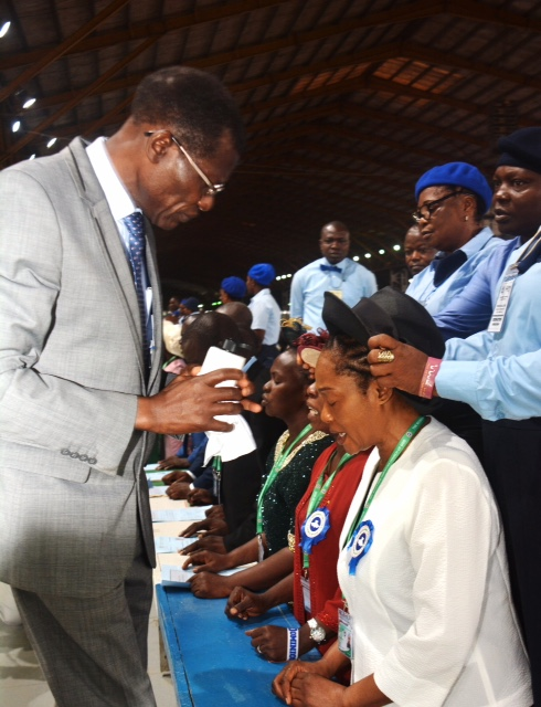 Senator Remi Tinubu (right) being ordained as Assistant Pastor, Redeemed Christian Church of God by Pastor Adewole Hastrup, Assistant General Overseer at the ongoing 66th Annual Convention of RCCG holding at the Km 46, Lagos-Ibadan Expressway camp of the churchon Tuesday. Photo Taiwo Okanlawon