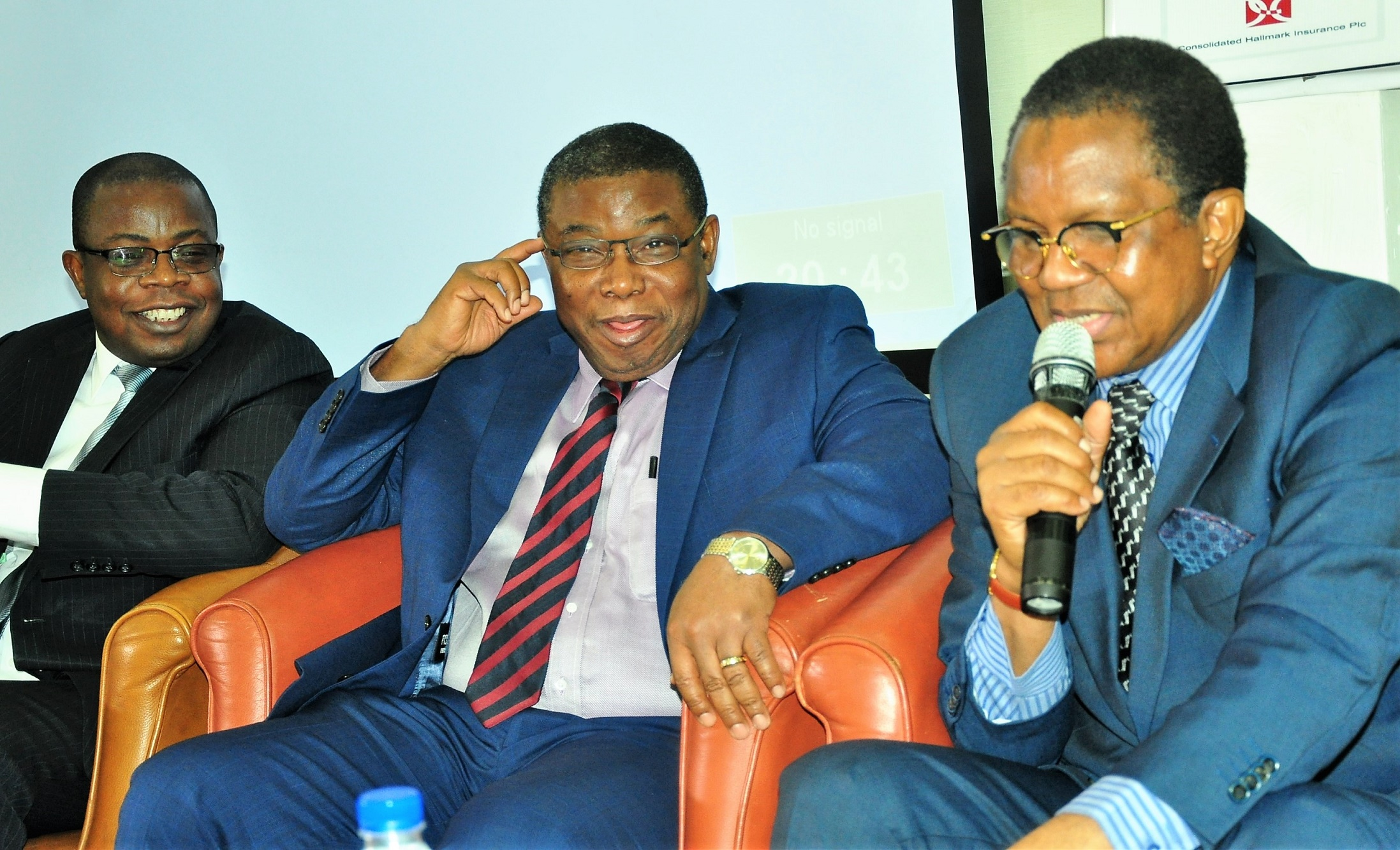 R-L:  Alhaji Bala Zakariya'u, past president, Chartered Insurance Institute of Nigeria and Chairman of occasion; Mr. George Onekhena, Deputy Commissioner, Finance and Administration, NAICOM, and Mr. Lana Loyinmi, Head Contribution & Bond Redemption, National Pension Commission, during the  3rd Annual National Conference of the National Association of Insurance and Pension Correspondents (NAIPCO) on The Role of Stakeholders in Developing Insurance and Pension Sectors held in Lagos on Thursday. August 09, 2018.