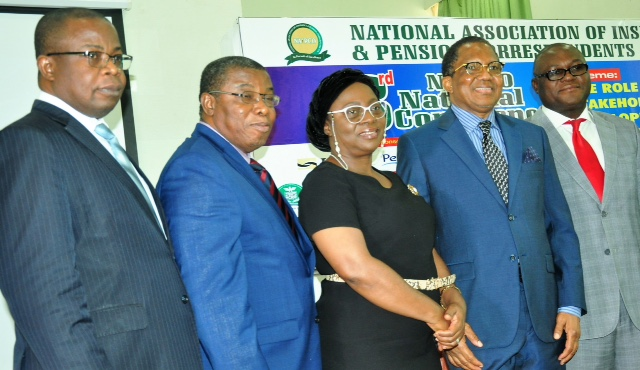L-R: Mr. Lana Loyinmi, Head Contribution & Bond Redemption, National Pension Commission; Mr. George Onekhena, Deputy Commissioner, Finance and Administration, NAICOM; Mrs. Yetunde Ilori, Director General, Nigeria Insurers Association; Alhaji Bala Zakariya'u, past president, Chartered Insurance Institute of Nigeria and Chairman of occasion, and Mr Adebayo Adeleke, Managing Director, Lancelot Ventures Ltd, during the  3rd Annual National Conference of the National Association of Insurance and Pension Correspondents (NAIPCO) on The Role of Stakeholders in Developing Insurance and Pension Sectors held in Lagos on Thursday. August 09, 2018.