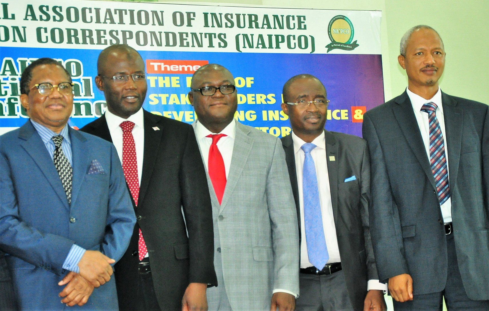 L-R: Alhaji Bala Zakariya'u, past president, Chartered Insurance Institute of Nigeria and Chairman of occasion; Mr Moruf Apampa, Managing Director/CEO, SUNU Assurance Plc; Mr Adebayo Adeleke, Managing Director, Lancelot Ventures Ltd; Mr. Supo Sogolola, Executive Director, Law Union & Rock Insurance, and Dr. Farouk Aminu, Head, Research and Strategy Management Department, Pencom, during the  3rd Annual National Conference of the National Association of Insurance and Pension Correspondents (NAIPCO) on The Role of Stakeholders in Developing Insurance and Pension Sectors held in Lagos on Thursday. August 09, 2018.