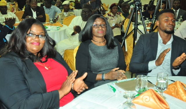 L-R: Ms Susan Oranye, Executive Secretary, Pension Fund Operators Association of Nigeria, (PenOp); Mrs Ronke Adedeji, President, PenOp & Managing Director/CEO, Leadway Pensure, and Takor Rhodrick of the Centre for Pension Rights Advocacy, during the  3rd Annual National Conference of the National Association of Insurance and Pension Correspondents (NAIPCO) on The Role of Stakeholders in Developing Insurance and Pension Sectors held in Lagos on Thursday. August 09, 2018.