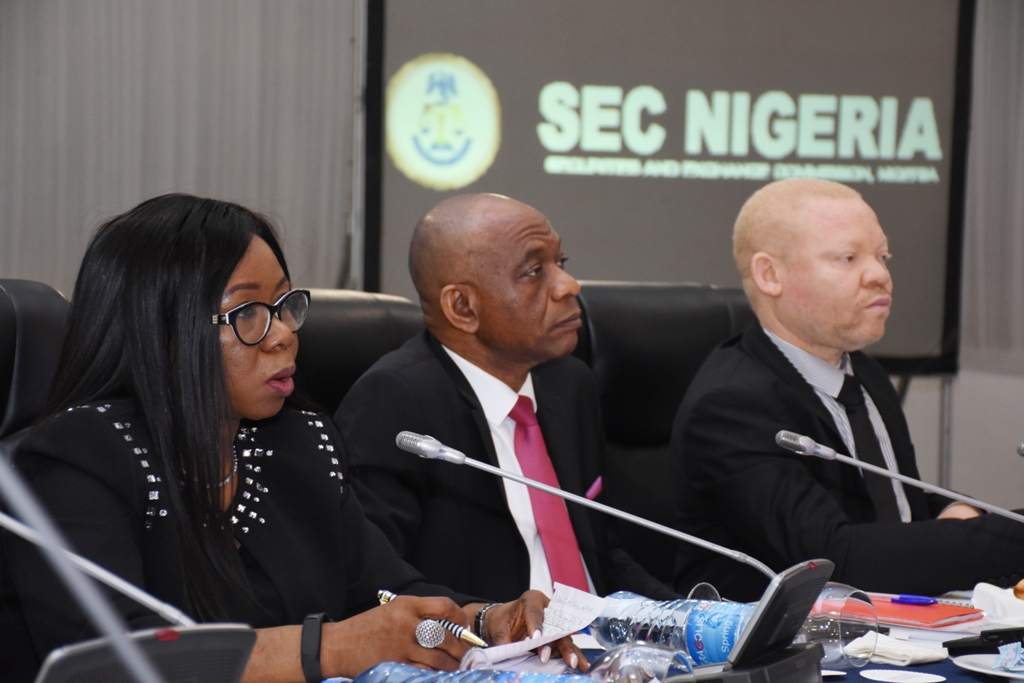 LEFT to RIGHT: Ag. Director General SEC, Ms. Mary Uduk, Ag. Executive Commissioner Corporate Services SEC, Mr. Henry Rowlands and Ag. Executive Commissioner Legal and Enforcement SEC, Mr. Reginald Karawusa during the Second Capital Market Committee (CMC) in 2018 held in Lagos, Thursday.