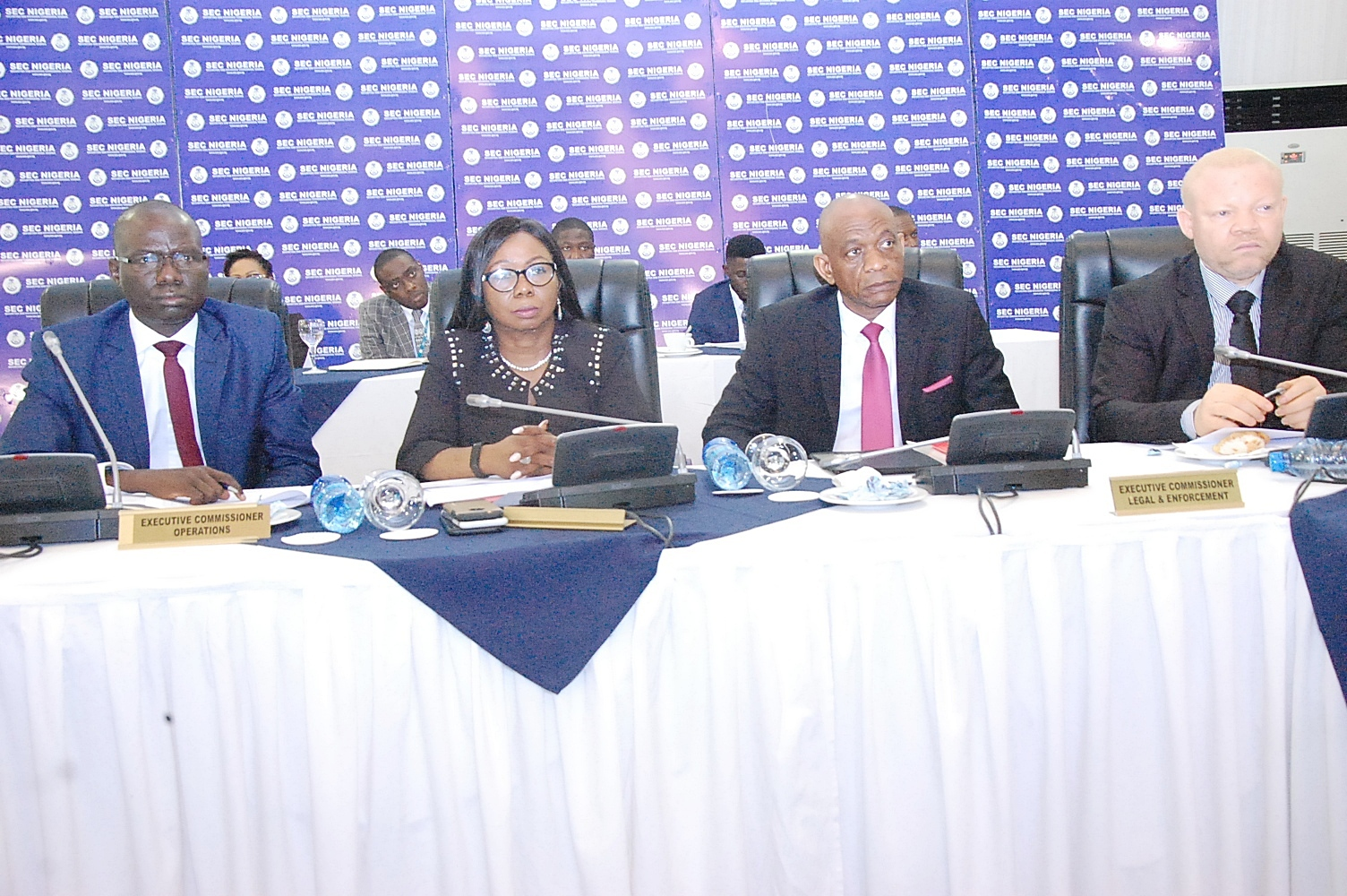 LEFT to RIGHT: Ag. Executive Commissioner Operations, Securities and Exchange Commission (SEC), Mr. Isyaku Tilde, Ag. Director General SEC, Ms. Mary Uduk, Ag. Executive Commissioner Corporate Services SEC, Mr. Henry Rowlands and Ag. Executive Commissioner Legal and Enforcement SEC, Mr. Reginald Karawusa during the Second Capital Market Committee (CMC) in 2018 held in Lagos, Thursday.