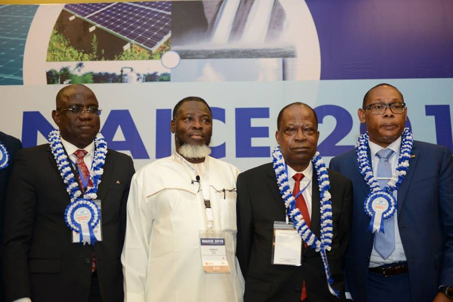 L-R; Managing Director, Shell Nigeria Exploration and Production Company, Bayo Ojulari; Chief Operating Officer, Upstream of Nigeria National Petroleum Corporation, Bello Rabiu; Vice Chairman/CEO, Emerald Energy Resources, Jude Amaefule; outgoing Chairman, Nigeria Council of the Society of Petroleum Engineers, Chikezie Nwozu, after a panel Session at the SPE Annual Conference and Exhibition in Lagos