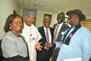 SENATE,  4,6,5,  L-R,  Acting Director General, Securities and Exchange Commission Ms Mary Uduk, Member, Senate Committee on Capital Market Sen Shaaba Lafiaji, SEC, Acting Executive Commissioner Cooperate Services Mr Henry Roland, Acting Executive Commissioner, Operations SEC Mr Isiaku Tilde and Deputy Chairman, Senate Committee on Capital Market Sen Foster Ogola during the  Senate Committee on Capital Market Oversights Visit to SEC in Abuja yesterday