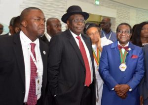 L-R: Exploration Manager, Shell Nigeria, Dan Agbaire; Special Adviser on Fiscal Strategy to the Minister of State for Petroleum Resources, Tim Okon; and the outgoing President, Nigerian Association of Petroleum Explorationists (NAPE), Andrew Ejayeriese,  during an inspection of the exhibition booth of Shell Companies in Nigeria at the opening ceremony of the 2018 edition of the annual conference and exhibition of NAPE in Lagos …on Tuesday