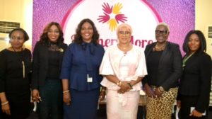 L-R: Cluster Head, Ajose Adeogun, Heritage Bank Plc, Kufretido Etim; Managing Director/CEO, Novo Health, Dr. Dorothy Jeff-Nnnamani; Cluster Head, Lagos Mainland 1, Heritage Bank Plc, Betty Eriyo; Convener, The Women More Series/Lead Consultant, Prinsult Global Consulting Limited, Raliat Oyetunde; President, Believe in Africa, Angelle Kwemo and Experience Center Manager, Toyin Street,  Heritage Bank Plc, Bolanle Ashiru, at the WomenMore Seminar in Lagos...on recently