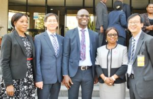 KOREA DELEGATES,  2, L-R,  Head,  Rules Division, Securities and Exchange Commission, Mrs  Eno Otunba-Payne,  Vice President, Good Consulting Group, Mr Pilsoon Han,  Deputy Director, Head Registration, Exchanges and Market Infrastructure, SEC  Mr Emomotimi Agama,  Acting Director General SEC,  Ms Mary Uduk and  Head of the  Republic of Korea Delegates to Nigeria  Dr Choonglyol  Lee during a Meeting between SEC and Republic of  Korea Delegates in Abuja yesterday