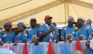 PIX 6446: Lagos State Governor, Mr. Akinwunmi Ambode (3rd right); All Progressives Congress (APC) Governorship Candidate in Lagos, Mr, Babajide Sanwo-Olu (2nd right); his running mate, Dr. Obafemi Hamzat (right); wife of the Governor, Mrs. Bolanle Ambode (left); Senior Special Assistant to the President on Sustainable Development Goals, Mrs. Adejoke Orelope-Adefulire (2nd left); Chairman, APC Lagos, Alhaji Tunde Balogun (3rd left) during the Flag Off Campaign of the Lagos APC at the Skypower Ground, G.R.A, Ikeja, on Tuesday, January 8, 2019.