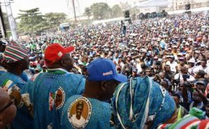 PIX 2442: Lagos State Governor, Mr. Akinwunmi Ambode (middle), addressing party faithful, flanked by the Chairman, All Progressives Congress (APC) Lagos, Alhaji Tunde Balogun (right) and APC Governorship Candidate in Lagos, Mr, Babajide Sanwo-Olu (left) during the Flag Off Campaign of the Lagos APC at the Skypower Ground, G.R.A, Ikeja, on Tuesday, January 8, 2019.