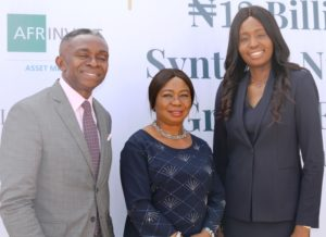 Managing Director, Afrinvest (West Africa) Mr Ike Chioke, Acting Director General,  Securities and Exchange Commission ,  Ms Mary Uduk and Managing Director, Syntaxis Capital Africa, Mrs Adesuwa Okunbo during the Official Launch of the Syntaxis Nigeria Growth Fund in Abuja yesterday