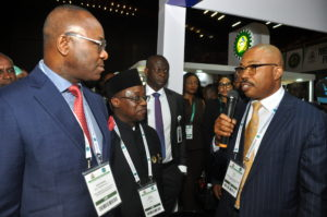 L-R: Dr. Ibe Kachikwu, Honorable Minister of State for Petroleum; Dr. Maikanti Baru, GMD, NNPC; and Engr. Obi Uzu, CEO, Global Process and Pipeline Services Limited (GPPSL) during the ministerial visit to the GPPSL exhibition stand at the Nigerian International Petroleum Summit (NIPS) held in Abuja recently.