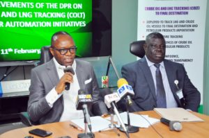 Honourable Minister of State, Petroleum Resources, Dr. Emmanuel Ibe Kachikwu and Mr. Mordecai Danteni Ladan, Director of Petroleum Resources DPR at the Ministerial briefing on achievements of DPR and key policies of government in Lagos.