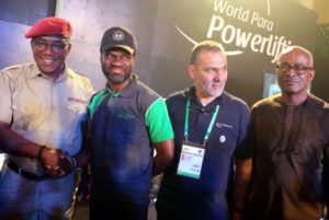 L-R: Member, International Para-Powerlifting, Ahmad Alraisy; Minister of Sports and Youth Development, Barr.  Solomon Dalong; Divisional Head, Corporate Communications, Heritage Bank, Fela Ibidapo and member, International Para-Powerlifting, Alajarmeh Ahmad,  during the official opening of  International Para-Powerlifting Competition, host by Nigeria, Sponsored by Heritage Bank plc  held at Oriental Hotel, Lekki, Lagos. Photo: Heritage Bank