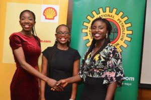 L-R: Manager, Nigeria Content Development of Shell Nigeria, Olanrewaju Olawuyi; SNEPCo scholars: Oluwapelumi Okewusi; Iwinosa Aghedo and Peace Adepoju; General Manager Capacity Building of Nigeria Content Development and Monitoring Board, Dr. Ama Ikuru; and General Manager Business and Government Relations of Shell Nigeria, Bashir Bello; at a reception for the SNEPCo scholars on arrival from a one-year Master's Degree in Geotechnical Engineering and Hydrography