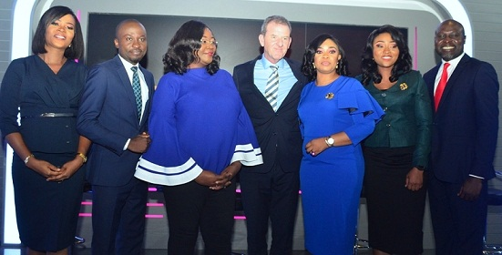 Chief Executive Officer, TVC Communications, Andrew Hanlon (4th from left), Director of News, TVC News, Stella Din-Jacob (3rd from left) with Lead Anchors at TVC News, Azeezat Olaoluwa(1st from left), Nifemi Oguntoye(2nd from left), Mike Okwoche (1stfrom right), Veronica Onuchi (2nd from right), and Ngozi Alaegbu (3rd from right)during the unveiling of a brand-new high definition news studio at its headquarters in Lagos, Nigeria on Wednesday, February 13, 2019