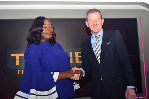 L-R: Director of News, TVC News, Stella Din-Jacob and Chief Executive Officer, TVC Communications, Andrew Hanlon during the unveiling of a brand-new high definition news studio in Lagos, Nigeria on Wednesday, February 13, 2019