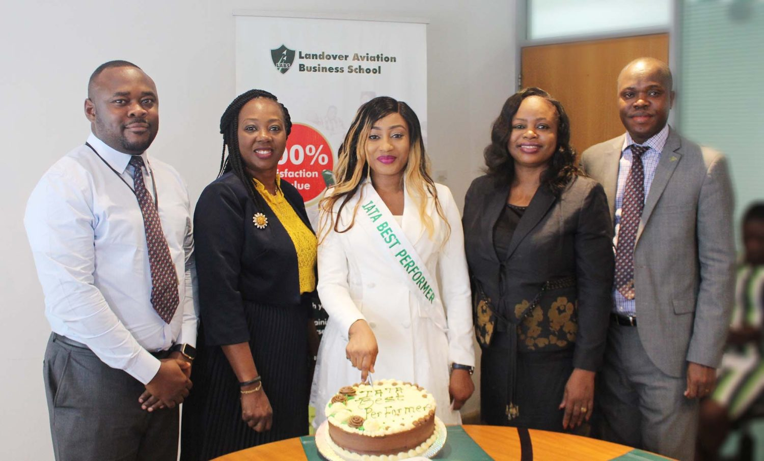 Photo Caption 2:    L-R: Mr. Mobolaji Durojaiye, Business Manager, Landover Aviation Business School (LABS); Mrs. Aduke Atiba, Executive Director, Landover Company Limited; Ms. Adeola Alade, 2018 IATA Best Performer in Nigeria and graduate of LABS; Mrs. Aderonke Emmanuel-James, Manager, Corporate Services, Landover Company Limited; and Mr. Tunde Adeniyi, Business Manager, Operations, Landover Company Limited, at the presentation of the 2018 IATA Best Performer Award in Nigeria, at the School in Lagos, recently