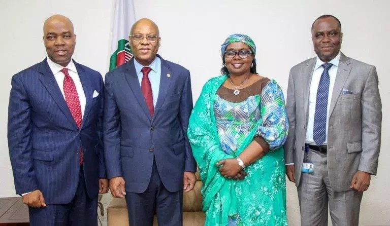 Left To Right: Managing Director, Ecobank Nigeria, Patrick Akinwuntan; President, ECOWAS, Jean-Claude Kassi Brou; Commissioner of Finance, ECOWAS, Mrs Halima Ahmed and Executive Director, Corporate Banking, Ecobank Nigeria, Akin Dada during Ecobank Management Team's visit to ECOWAS office in Abuja