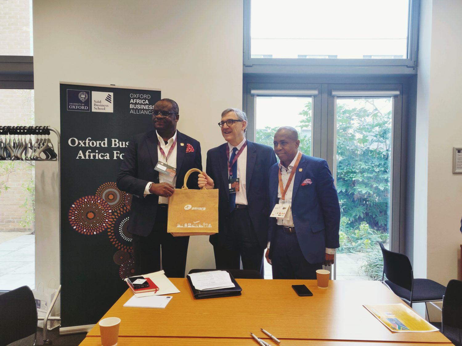 Group Managing Director, Sahara Power Group, Kola Adesina, Dean, Saïd Busines School, University of Oxford, Peter Tufano and Head, Corporate Communications, Sahara Group, Bethel Obioma at the 2019 Oxford Business Forum Africa in Oxford, United Kingdom on March 9, 2019