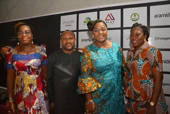 Pix 0892... Executive Director, Business Support, Wema Bank PLC, Folake Sanu (left), presenting an award to Artistic Director and Designer, Omoyemi Akerele, at the bank's sponsored Songversation With Aramide (SWA) and unveiling of Sara by Wema held at TerraKulture VI, Lagos..on Friday