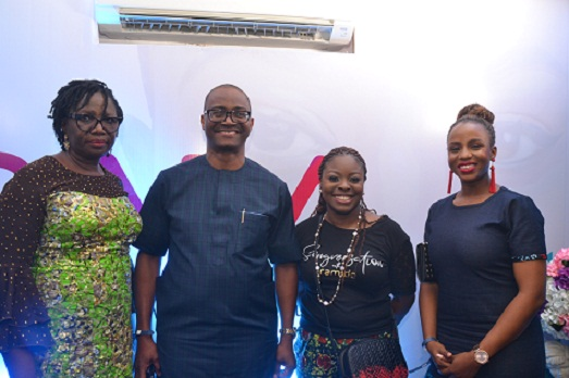 Pix 0913...L-R: Executive Director, Business Support, Wema Bank PLC, Folake Sanu; Managing Director/CEO, Ademola Adebise;  Head, Brands and Marketing Communication, Funmilayo Falola and Associate Partner, McKinsey @ Company, Kemi Onabanjo, at the bank's sponsored Songversation With Aramide (SWA) and unveiling of Sara by Wema held at TerraKulture VI, Lagos..on Friday