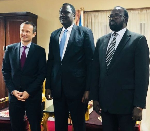 Caption for attached pix: L-R: CEO, Sahara Energy International PTE Ltd, Valery Guillebon, South Sudan Minister of Petroleum, Ezekiel Lol Gathkuoth and Undersecretary, Ministry of Petroleum, Mayen Wol Jong following the signing of the $600 million facility provided by Sahara Energy Resources DMCC, Dubai (a member of the Sahara Group) to support ongoing peace process and infrastructure development in South Sudan
