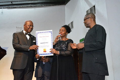 Middle, the Group Managing Director/CEO, NAHCO Plc, Mrs. Olatokunbo Fagbemi;  left, MD, Ernst & Young, Mr. Henry Egbiki and right, Mr. Ikeagwu Nwosu, at the conferment of Award on NAHCO for consistent and unbroken payment of dividend to shareholders for 11 years.