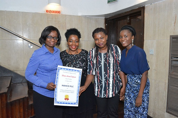 2nd from left, the Group Managing Director/CEO, NAHCO Plc, Mrs. Olatokunbo Fagbemi; the Finance Manager of the Company, Mrs. Solape Koledoye; Systems Auditor, Mrs. Oluchi Achinihu and the Executive Assistant to the GMD/CEO, Miss Julianah Odeyemi, at the conferment of Award on NAHCO for consistent and unbroken payment of dividend to shareholders for 11 years.