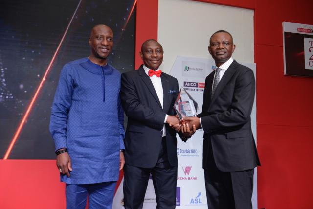 From left: Mr. Oscar Onyema (CEO, Nigerian Stock Exchange), Mr. Edwin Igbiti (MD/CEO, AIICO Insurance Plc.) and Mr. Frank Aigbogun (Publisher, BusinessDay)