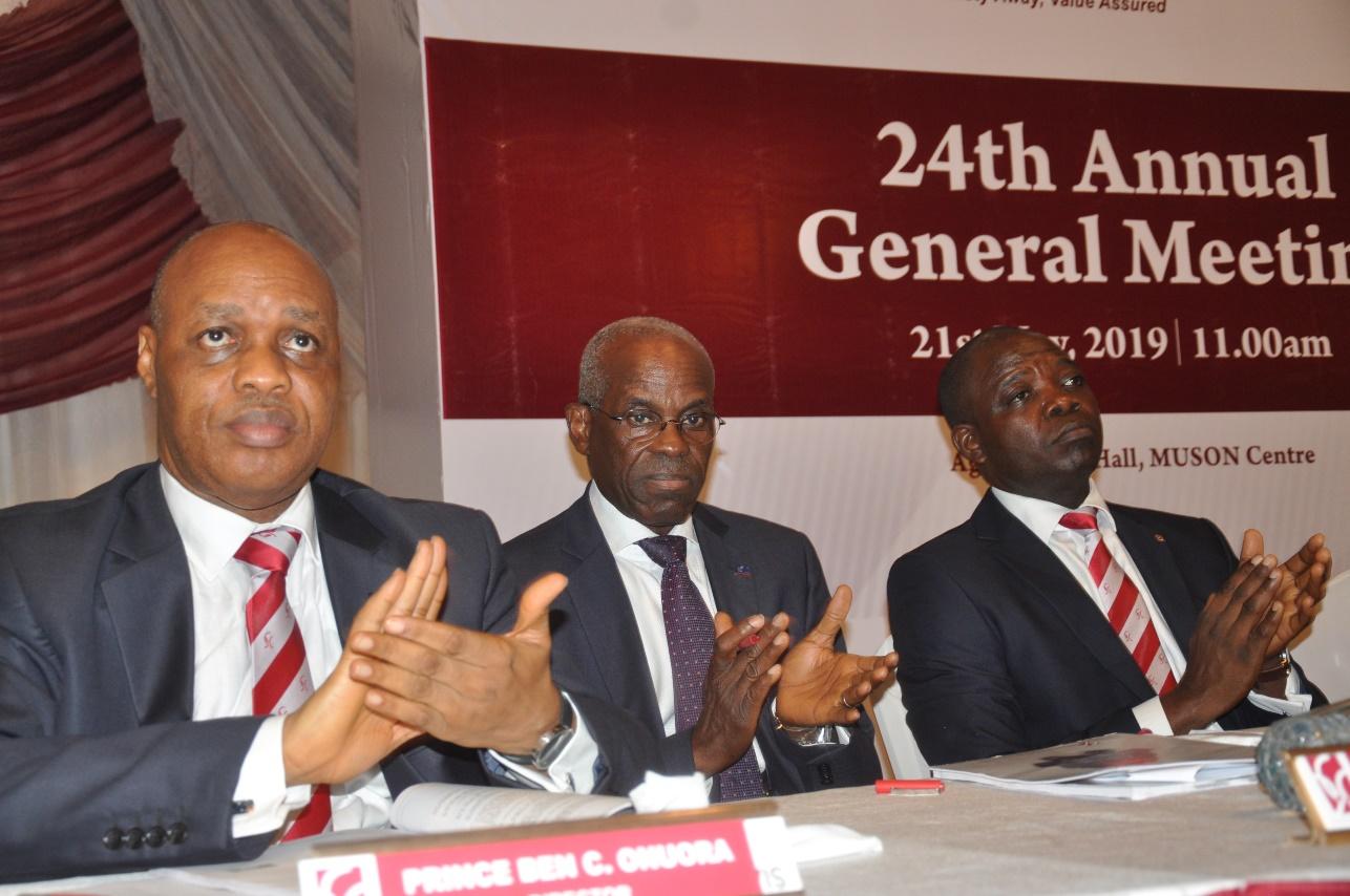 L-R: Prince Ben Onuora, Non-Executive Director, CHI; Dr. Layi Fatona, Non-Executive Director, and Babatunde Daramola, Executive Director, Financial Systems & Investment