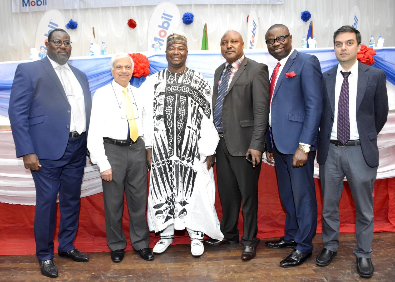 L- R : Managing Director ,11Plc , Mr Adetunji Oyebanji ; Chairman 11Plc ,Mr Ramesh Kansagra ; Director ,Alhaji Abdulkadir Aminu ; Company Secretary , Mr Danladi Ochekpe ;Director , Mr Paul Obi  and Director, Richi Kansagra during  the company's  41st Annual General Meeting in Lagos