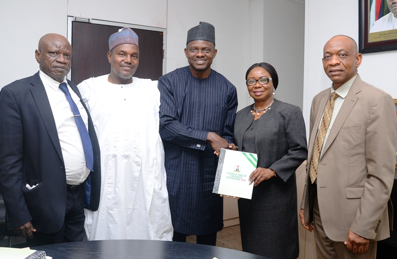 FRC, 2 L-R,   Board  Member,  Financial Reporting Council of Nigeria,  Mr Adewale Owolo, Member, FRC  Alh  Ahmed Rabiu, Executive Secretary  FRC, Mr Daniel Asapokhai, Acting  Director General, Securities and Exchange Commission, Ms Mary Uduk and Acting Executive Commissioner, Corporate Services, SEC  Mr  Henry Rowlands during a Meeting on the Implementation of the Nigerian Code of Corporate Governance  2018 between FRC and SEC in Abuja weekend