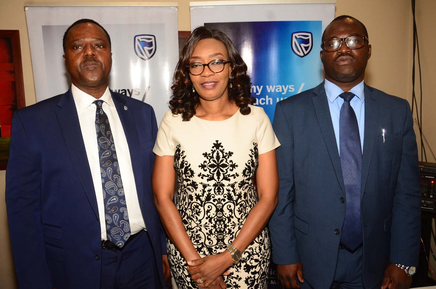 L-R: Chief Executive, Stanbic IBTC Pension Managers Limited, Mr Eric Fajemisin; Executive Director, Business Development, Stanbic IBTC Pension Managers Limited, Mrs Nike Bajomo; and Head, Micro Pension and Agency, Mr Abimbola Oladele, at the launch of Stanbic IBTC Pension Managers' micro pension campaign, held in Lagos