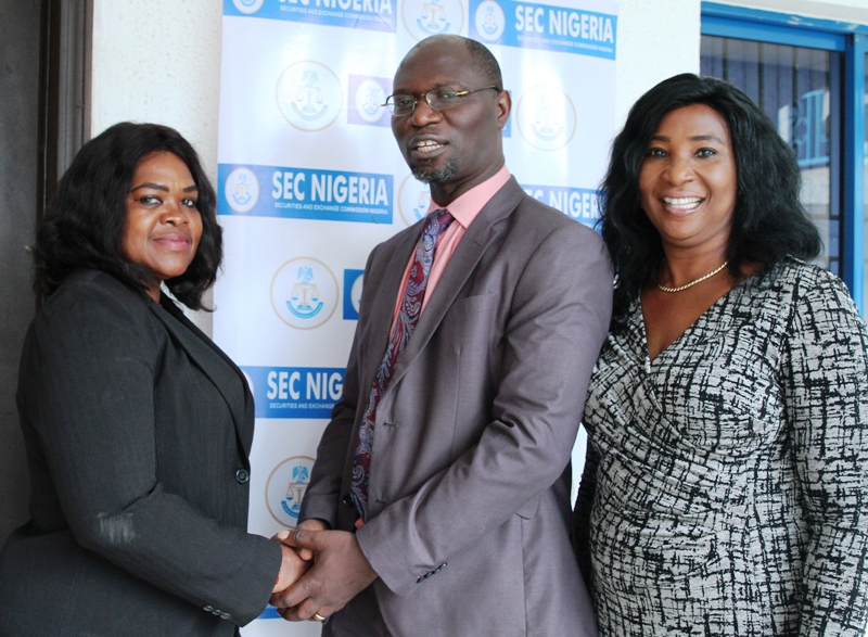 L-R,  Senior Manager, Litigation and Process Registry Department, Investments and Securities Tribunal, Mrs Maria Anodere, Acting, Head of Department, Registration  Exchanges and Market Infrastructure, Securities and Exchange Commission, Mr Emomotimi Agama and Principal Manager, Commodities Exchange Division SEC, Mrs Caroline Dokpesi during the Training for Senior Management Staff of Investments and Securities Tribunal on the Implementation of the Commodity Ecosystem in Abuja, Tuesday
