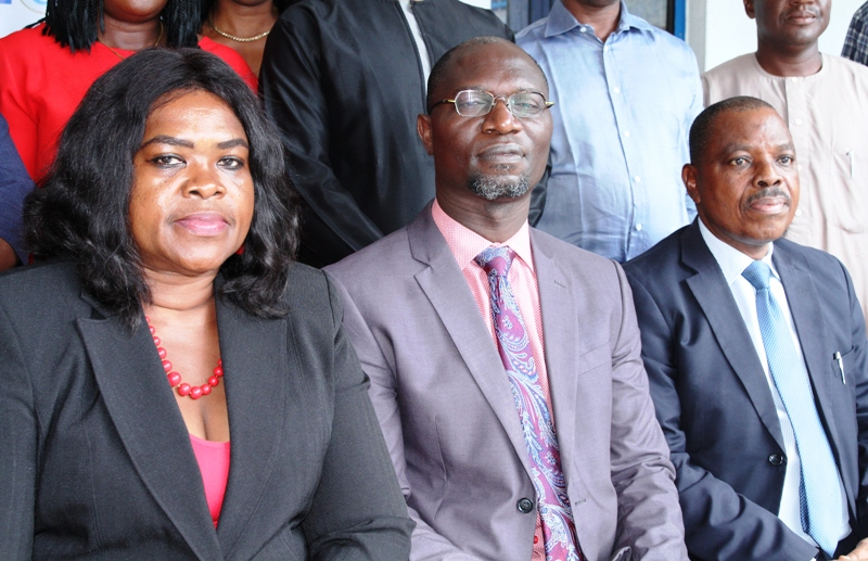 L-R,  Senior Manager, Litigation and Process Registry Department, Investments and Securities Tribunal, Mrs Maria Anodere,  Acting, Head of Department, Registration  Exchanges and Market Infrastructure, Securities and Exchange Commission, Mr  Emomotimi Agama and Guest Lecturer, Mr Benson Lawal during the Training for Senior Management Staff of Investments and Securities Tribunal on the Implementation of the Commodity Ecosystem in Abuja, Tuesday