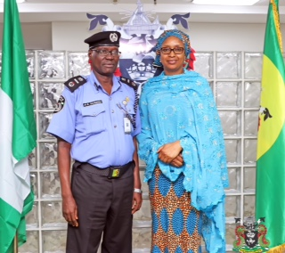 The Managing Director, Nigerian Ports Authority (NPA), Hadiza Bala Usman (middle), the Assistant Inspector General of Police (AIG), Maritime, Abdul Dahiru Danwawu  (2nd left), the Executive Director, Marine & Operations, NPA, Dr. Sokonte Davies (left), the Commissioner of Police, Ports Police Command, Muhammad Uba Kura (2nd right), and the Executive Director, Finance & Admin., Mohammed Bello-Koko (right) at the event