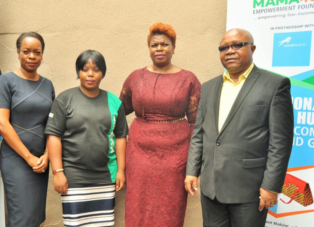 From Right: Coordinator, Mandela Washington Fellowship, Austin Emeanua; Head, Corporate Communications and Marketing, Union Bank, Ogochukwu Ekezie-Ekaidem; Founder, Mamamoni Empowerment Foundation (MEF), Nkem Okocha and Trustee, MEF, Okhai Olaghere, during the launch of the Mamamoni Innovation Hub sponsored by Union Bank, in Lagos recently.