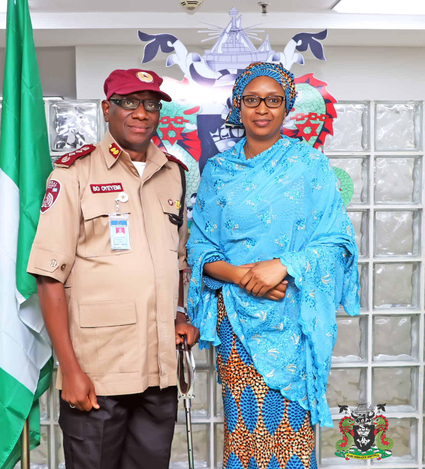 Caption1. The Managing Director, Nigerian Ports Authority (NPA),Hadiza Bala Usman (right) and the Corps Marshal, Federal Road Safety Corps (FRSC), Dr. Boboye Oyeyemi, who paid a courtesy call on the MD at the NPA Corporate Headquarters in Lagos, yesterday.