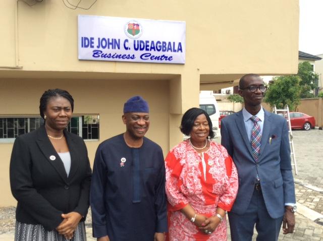 L-R, Mrs Tope Ande,Amb Ayoola Olukanni, NACCIMA DG, Iyalode Alaba Lawson MFR, NACCIMA National President & Mr Dapo Ande at the Commissioning of Ide Udeagbala Business Centre at Naccima secretariat, Ikeja,Lagos.