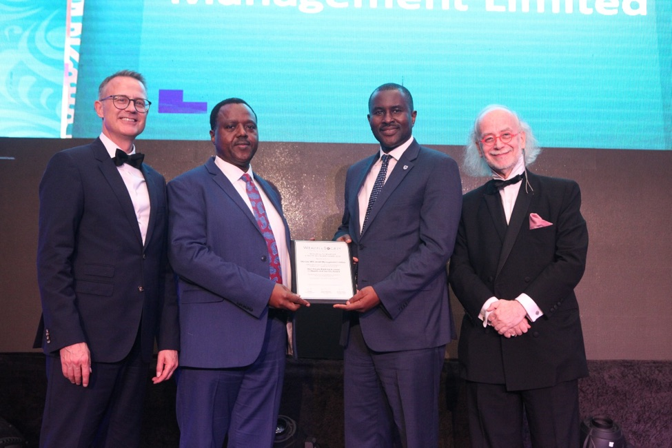 L-R: Member, International Advisory Council, Global Wealth and Society Awards Programme, Mr. Gordian Gaeta; Chief Executive, Stanbic IBTC Pension Managers Limited, Mr. Eric Fajemisin; Chief Executive, Stanbic IBTC Asset Management Limited, Mr. Oladele Sotubo; and Member, International Advisory Council, Global Wealth and Society Awards Programme, Mr. Urs Bolt, during the presentation of the Best Private Banking Business in West Africa Award to Stanbic IBTC Asset Management Limited at The Wealth and Society West Africa Awards 2019 in Lagos recently.