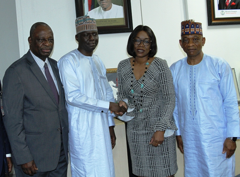 L-R, Managing Director, Global Credit Rating Company   Mr Adebisi Ajiboye,  Acting Executive Commissioner, Operations, Securities and Exchange Commission Mr Isyaku Tilde,  Managing Director, Agusto & Co Mrs Vivien Shobo and Acting  Executive Commissioner, Corporate Services, SEC Mr Henry Rolands during a Meeting between the  Association of Credit Rating Agencies of Nigeria and SEC in Abuja yesterday