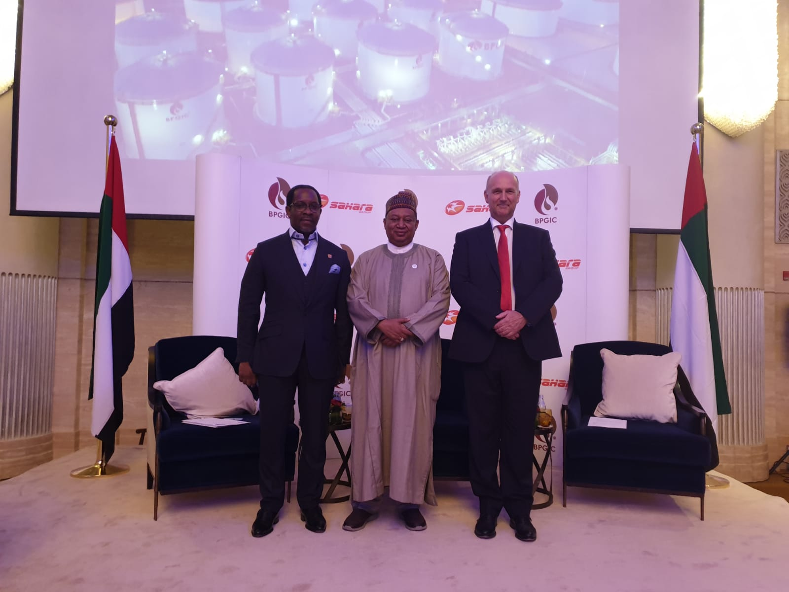 Executive Director, Sahara Group, WaleAjibade, Secretary General, Organisation of Petroleum Exporting Companies (OPEC), H.E. Mohammed Barkindo and Chief Executive Officer, Brooge Petroleum and Gas Investment Co (BPGIC), Nicolaas Paardenkooper at the ceremony that sealed the partnership between Sahara Energy and BPGIC towards the construction of a refinery that will produce IMO 2020 compliant fuels in the United Arab Emirates