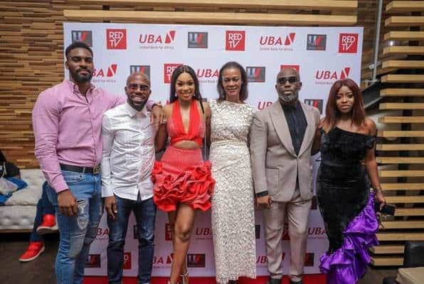 l-r: Actor,  Somto Akanegbu; Co-owner Urban Vision Limited, Akins Akinkugbe, Actor, Sharon Ooja ; Group Head Corporate Communications/ Executive Producer, The Men's Club, Bola Atta; Director The Men's Club, Tola Odunsi;  Actor, Adebukola Oladipupo, during the Season 2 Premiere of the movie in Lagos